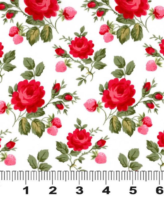 Fabric Rosie Two Step Red Pink Design by vintagetonewfabric, $9.95