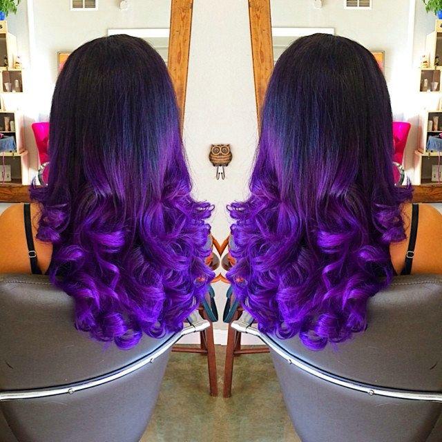 Black to Purple Mermaid Dip Dye Colorful Ombre!
