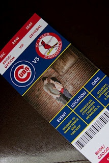 Cubs-Cardinals baseball themed wedding invitations.  Sara made my wedding invitations and she is amazing!!