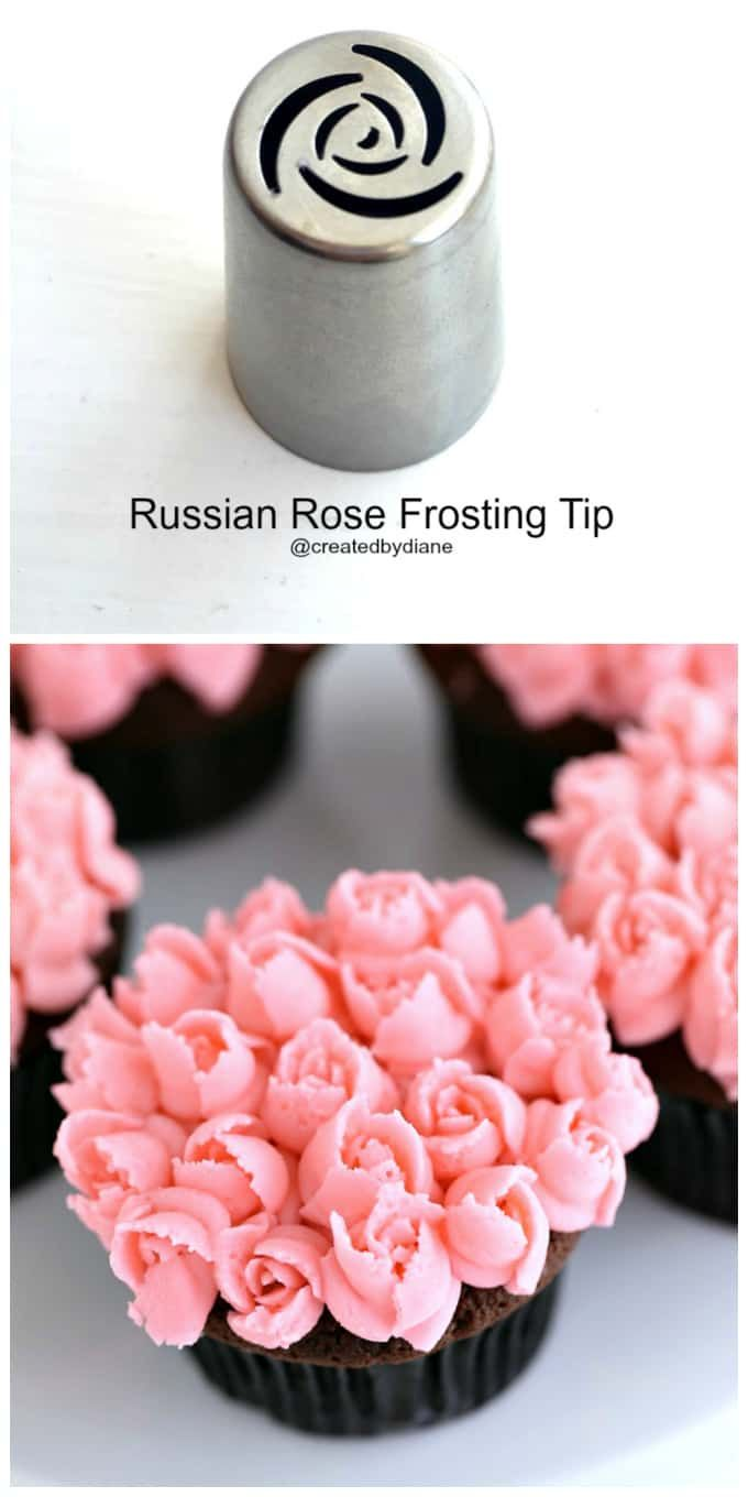 Russian Rose Frosting Tip with Pink Piped Mini Roses on Chocolate Cupcakes @createdbydiane