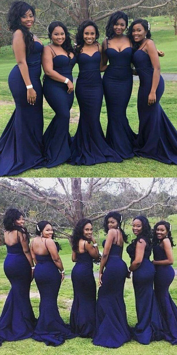 navy blue mermaid long bridesmaid dress, 2017 straps mermaid navy blue long bridesmaid dress, wedding party dress