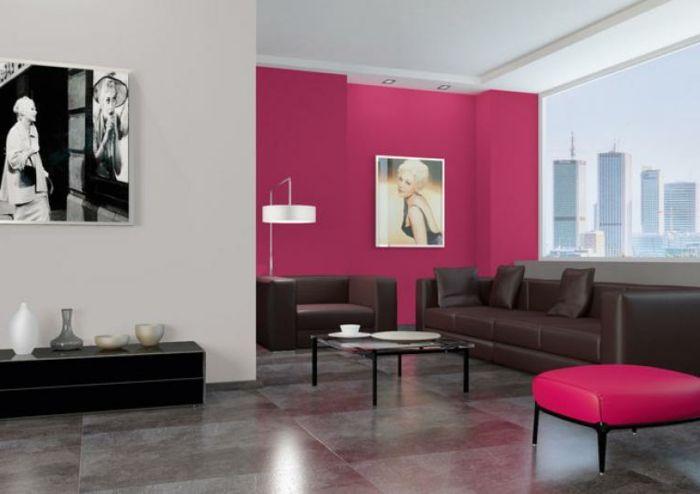 Comment Peindre Un Salon, Peindre Une Chambre En Deux Couleurs, Tabouret  Rose, Petite
