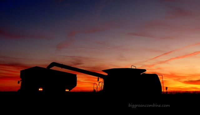 harvest sunset with combine and grain cart: Photo Archives, Beautiful Sunset, Farms Photo, Cool Photo