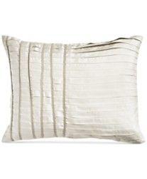 """Donna Karan Silk Essentials Pearl 16"""" x 20"""" Pleated Decorative Pillow"""