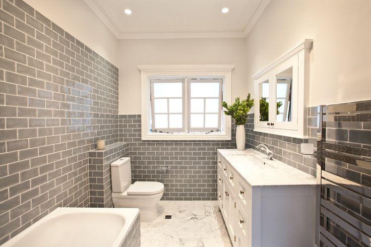 Grey subway tiles for bathroom