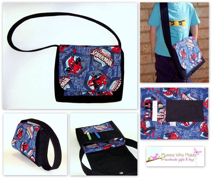 Handmade by @Mumma Who Makes Title: Messenger Satchel featuring Spider Man