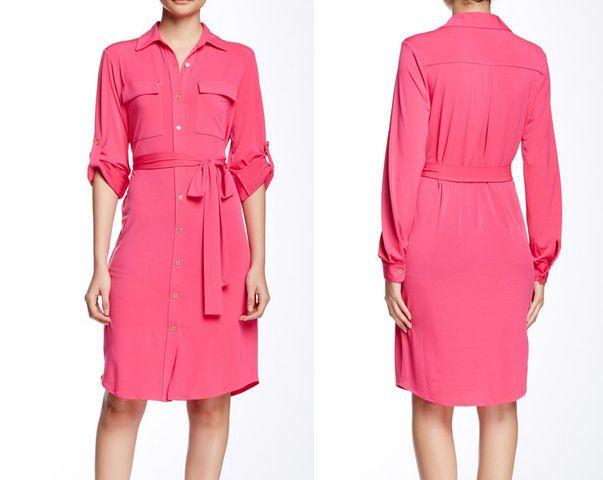 STYLISH Calvin Klein Pink Coral roll-up sleeve Tie Waist shirt dress Sz 8 NWT #CalvinKlein #ShirtDress