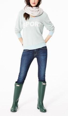 Sport Sweatshirt, Cigarette Jeans, & Hunter Boots