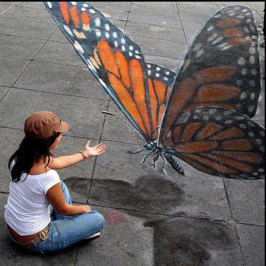 Butterfly 3D street art