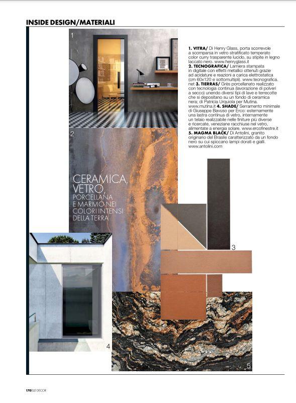 """Servizio redazionale """"Inside Design"""" dedicato alla nuova porta a scomparsa in vetro stratificato curry trasparente su stipite Xilo nero all'interno di Elle decor di Giugno 2015."""
