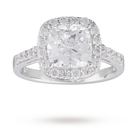 Cushion Cut Cubic Zirconia Cocktail Ring in Sterling Silver   Gifts   Goldsmiths