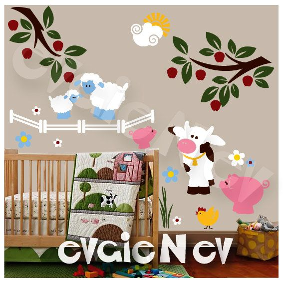Wall Decal for Kids Farm Wall Decals with pig cow by evgieNev