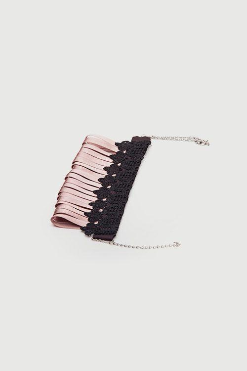 Romani Design ribbon necklace (mauve) | Romani Design