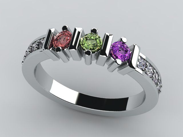 mothers ring | Christopher Michael Designed 3 Stone Mothers Ring with Diamonds