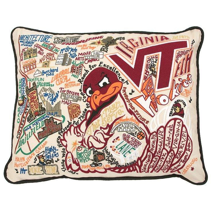 Virginia Tech Hand Embroidered Pillow