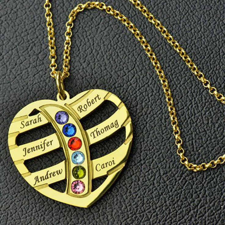Mothers Necklace With Children Names & Birthstones In Gold - The perfect symbol of love and family. Featuring a heart-shaped pendant,this piece of jewelry can be personalized to include up to six names and include a birthstone with each name.Whether for mom or a gift for grandmothers, this heart necklace is the perfect option. Moms everywhere will love this #birthstonenecklace.