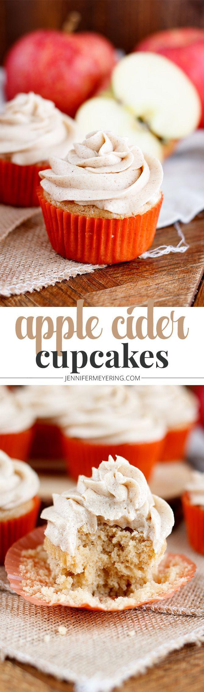 Apple Cider Cupcakes - JenniferMeyering.com