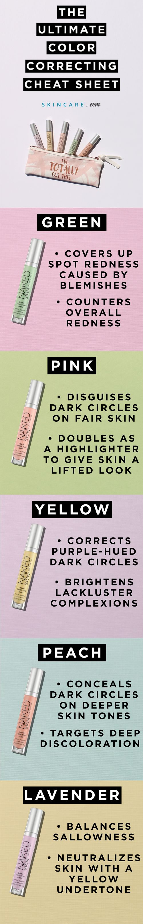 Color correction covers up dark circles, redness, pimples, dull skin, and other kinds of skin discoloration using different color concealers. Green gets rid of redness and covers up your breakouts, while pink, yellow or peach can cover up your dark circles, and purple makes your dull skin look bright and highlighted. Learn how to use @urbandecay's Naked Skin Color Correcting Fluid concealers in your makeup routine with our color correction tutorial, here.