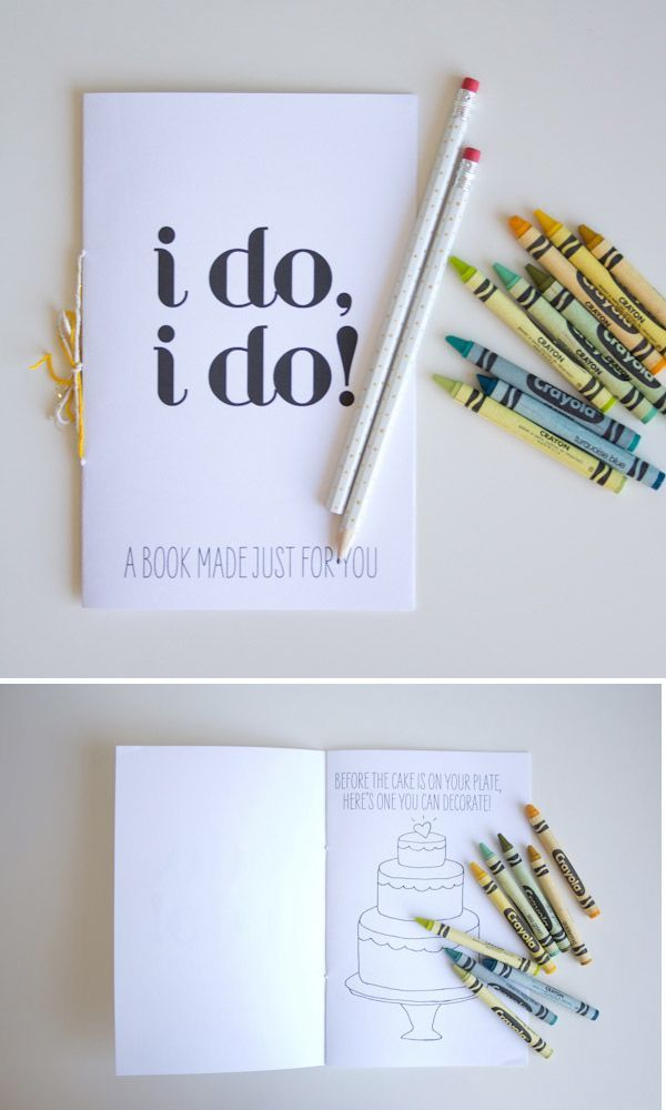 A special coloring book just for the kids. | 23 Unconventional But Awesome Wedding Ideas