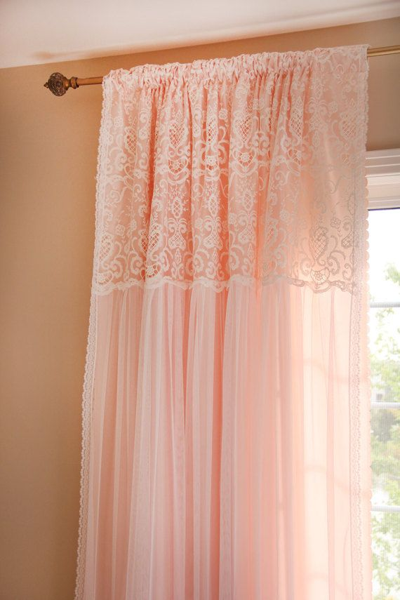 Peach Pink Ruffle Embroidery Lace Overlay Ruching Luxury Tulle