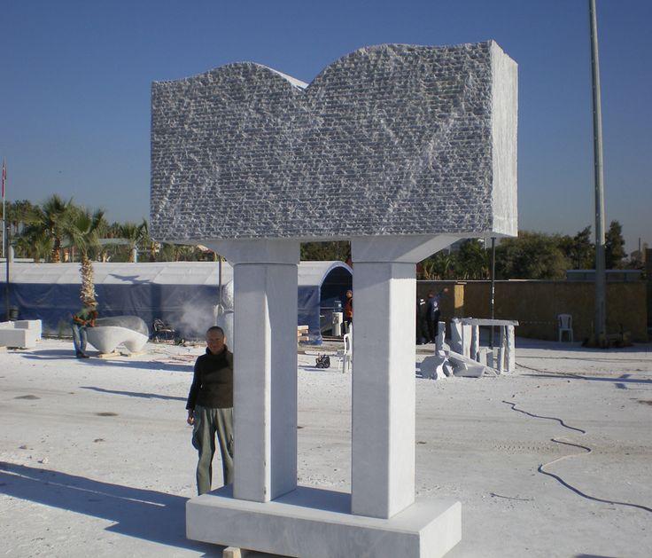 """Book"". 2007.  Marble.  360 x 280 x 100 cm.  Mersin, Turkey."
