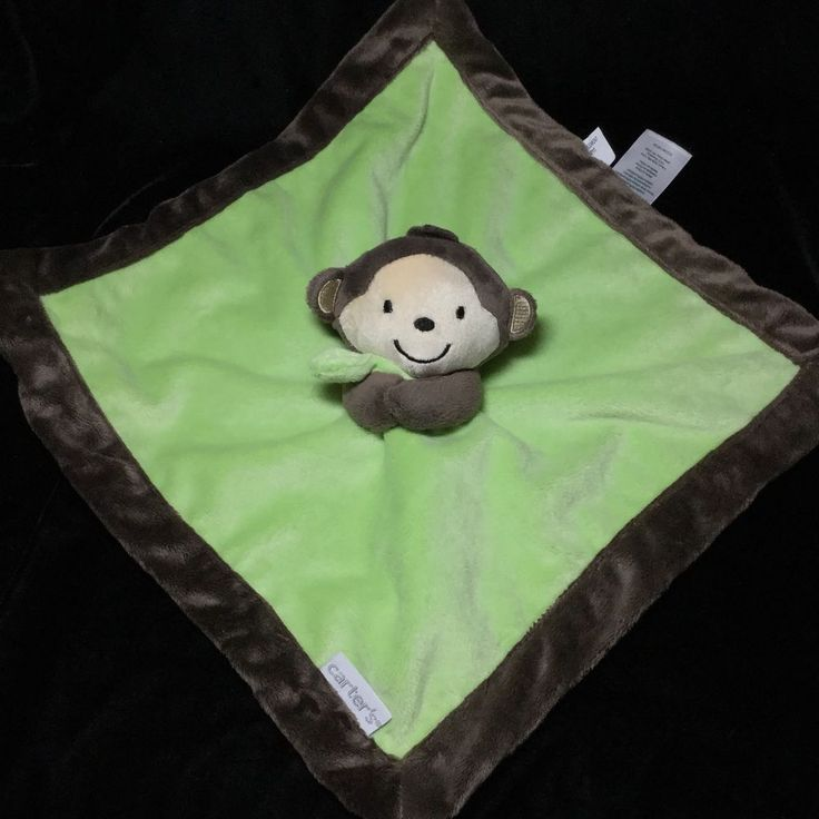 Carters Monkey Baby Security Blanket Green Brown Lovey Velour Plush Soft Toy  #Carters