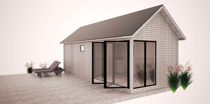 KENJO Attefallshus 25kvm.  Sliding glassdoor, cabin.