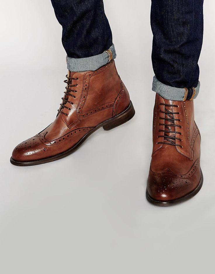 Men leather Broque Boot Wing tip cognac