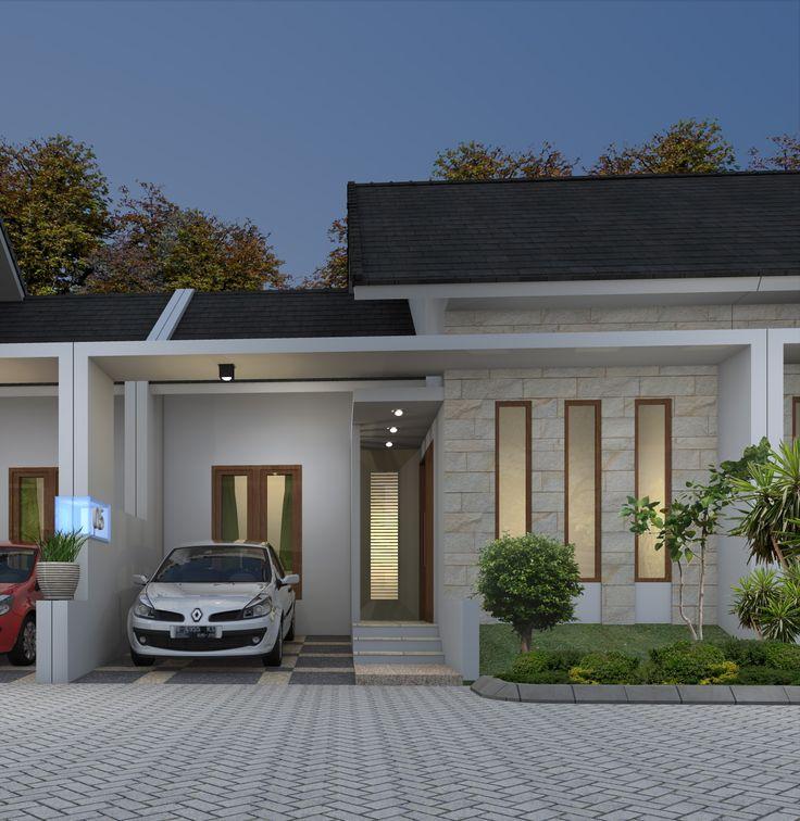 Berikut adalah gambar tampak depan dari desain rumah minimalis type 45 di Bogor