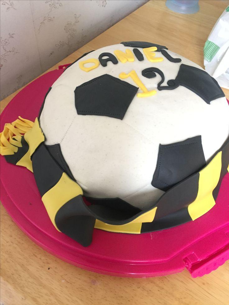 Fotbollstårta , soccercake , AIK, fotboll, halsduk , fondant, tårta, marsipan, cake, football