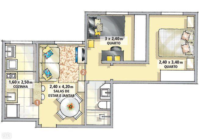 2 dormitorios en 37m2