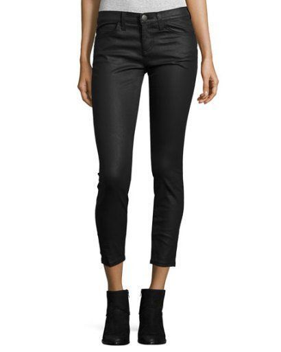 CURRENT/ELLIOTT STILETTO COATED CROPPED JEANS, BLACK, SIZE 25