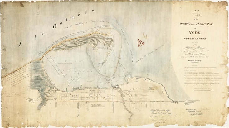 1833 Bonnycastle No.1 Plan of the Town and Harbour of York Upper Canada. This reconnaissance plan is rich in information about the surroundings of the town and the peninsula. By 1833 Fort York was in such disrepair that new fortifications to the west were planned as shown here.   Several plans made in the 1830s, including this one, were oriented to the south, probably under the influence of military map-makers whose attention was always focused on the harbour and its defense...