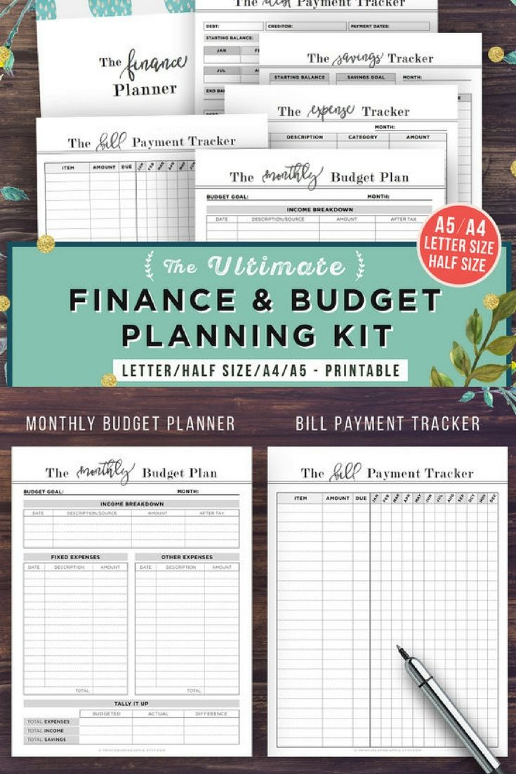 Financial Planner Budget PRINTABLE Finance A5 Letter Half Size