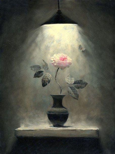 холодная, пустая комната. роза. нравится простота и непринужденность красок. нравится свет и ощущение безопасности в комнате. в одиночестве я вижу спасение