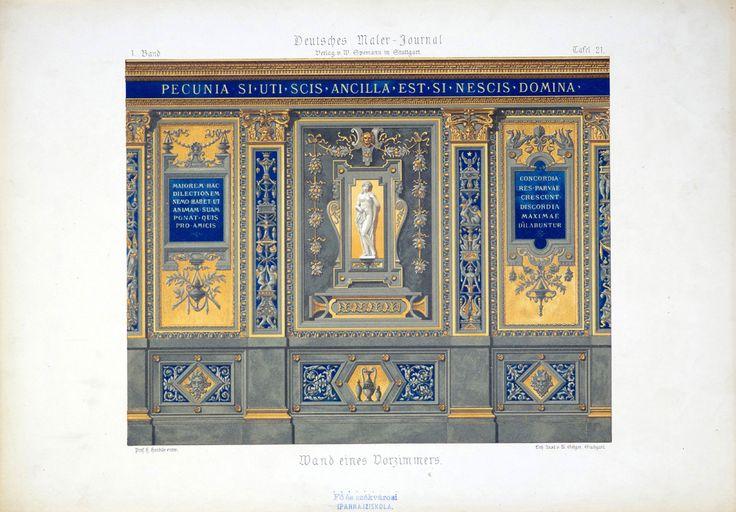 Herdtle, H.  M. Seeger, Stuttgart Wand eines Vorzimmers [1877-1894] 1. Band, Tafel 21. Deutsches Maler-Journal : Plafonds, Vestibule, Treppenhauser, Wanddecorationen, Sgraffiten, Holz- und Marmor-Malerei, Blumen, Alphabete, Schilder, Embleme, Plakate etc. Stuttgart : W. Spemann, [1877-1894] Schola Graphidis Art Collection, Hungarian University of Fine Arts - High School of Visual Arts, Budapest This item is under the following Creative Commons license: CC BY-NC-ND 4.0