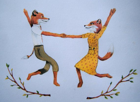 Fantastic Mr Fox print  Mr and Mrs Fox by Maggiesneedle on Etsy