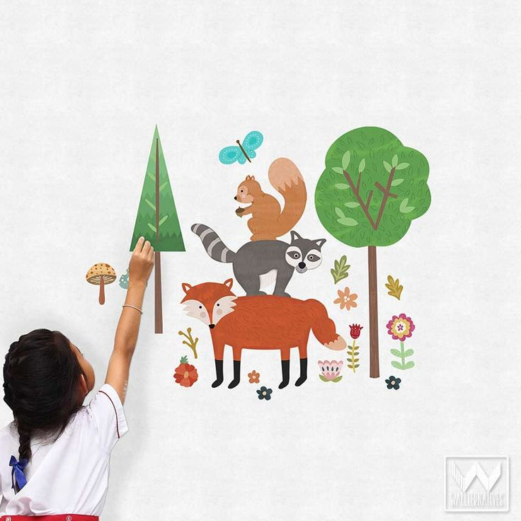 Kids Room and Baby Nursery Decor - Removable Wall Decals and Forest Animals