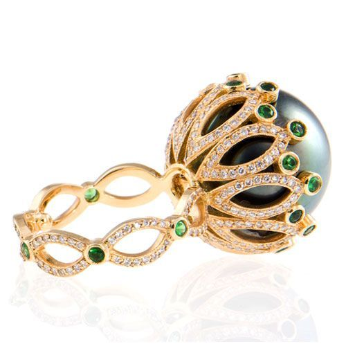 Erica Courtney™ - Eve Drop Dead Gorgeous Rings 18k gold and diamond Eve ring with South Sea pearl and tsavorite details