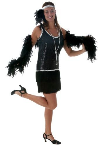 The 1920s is still one of the most interesting eras in American history. One of those reasons is because of the Flapper movement! This Black Sequin & Fringe Plus Size Flapper is inspired by those sleek designs of the roaring 20s.