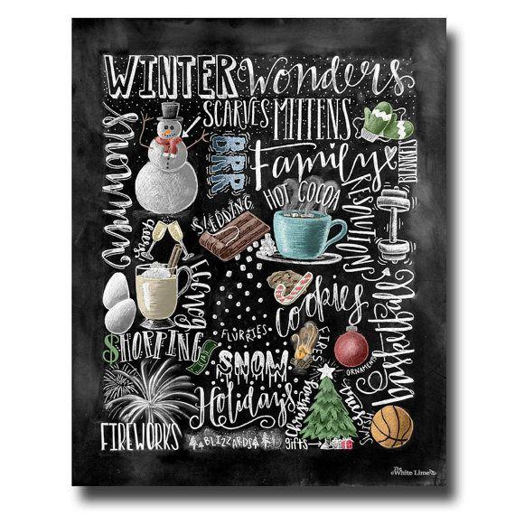 ♥ Winter Collage ♥  L I S T I N G ♥ ♥ ist jedes Bild ursprünglich Hand mit Kreide gezeichneten und Digital umgewandelt. Tafel-Drucke pflegen die Authentizität und den Staub von der ursprünglichen Zeichnung Fleck frei. Alle Drucke werden auf Tiefe Matte Fujicolor Crystal Archiv Professional Papier gedruckt.  Microsoft ♥ S E A S O N E S E T ♥ • https://www.etsy.com/listing/228617186/four-seasons-4-seasons-wall-art?ref=shop_home_active_2  F R A M I N G ♥ ♥ Frame vor dem Glas der Rahmen für ein…