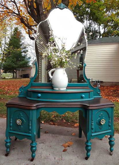 refinished antique vanity in teal, painted furniture