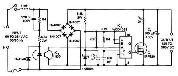 Universal Power Supply With A Safe High Voltage Capacitor Power Supply Circuits Capacitor High Voltage Power Supply Circuit