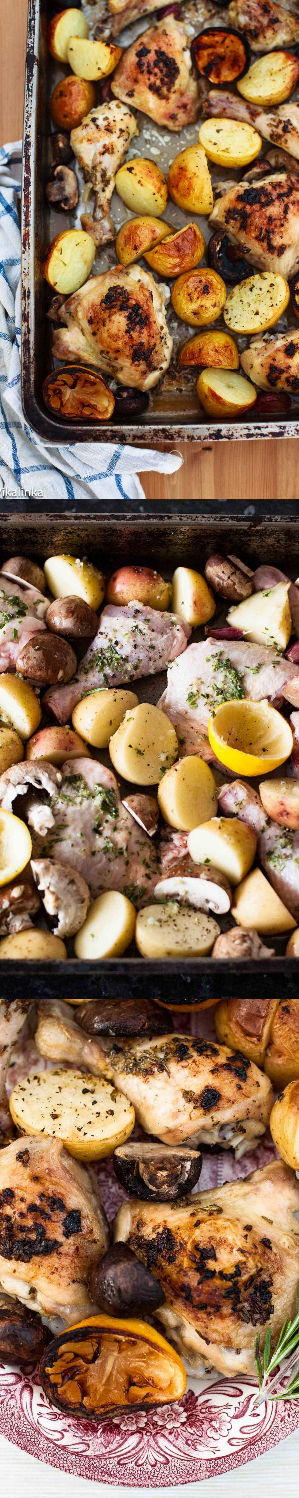 One tray baked rosemary lemon chicken and potatoes are perfect for busy weeknight meals!