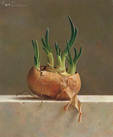 '' Uienbakje '' 20.5 x 17.0 cm - Olieverf op paneel - 2004 by Marius van Dokkum