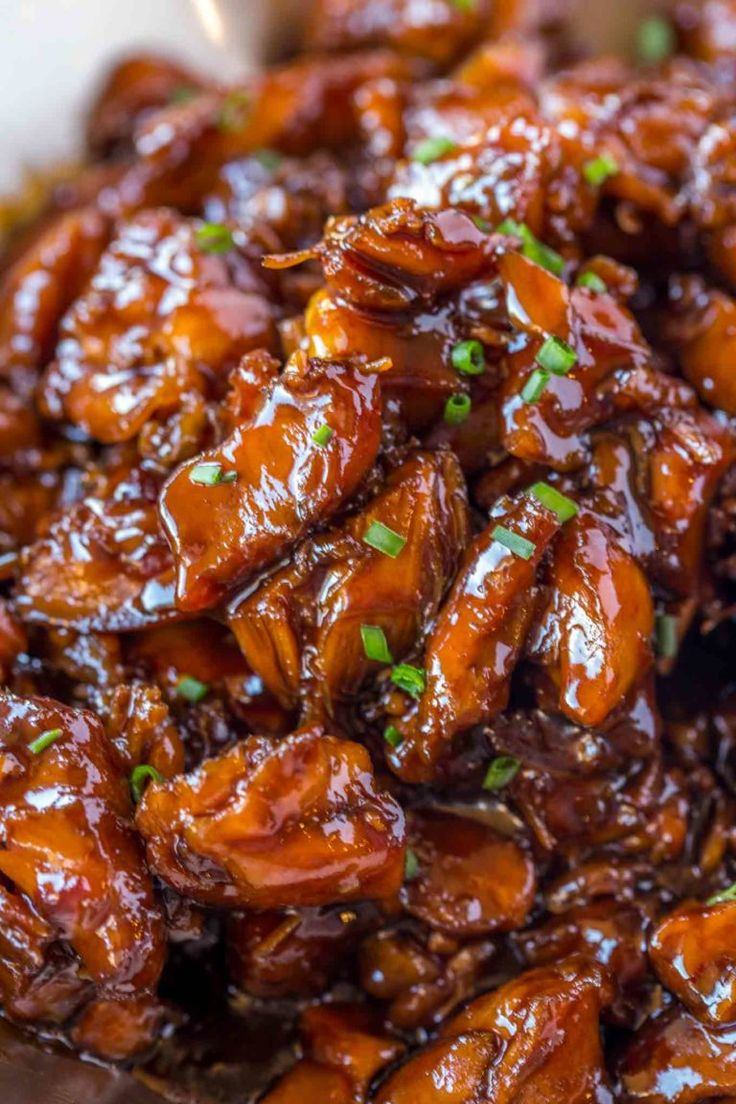 Easy bourbon chicken thats crispy sweet sticky and
