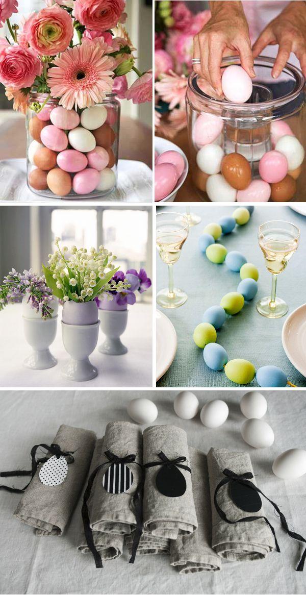 Påsk, ägg, blommor, borddekoration