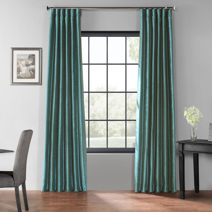 Exclusive Fabrics & Furnishings Peacock Blue Blackout Vintage Textured Faux Dupioni Curtain – 50 in. W x 108 in. L-PDCH-KBS14BO108