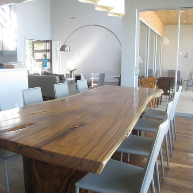 reclaimed table, mod chairs