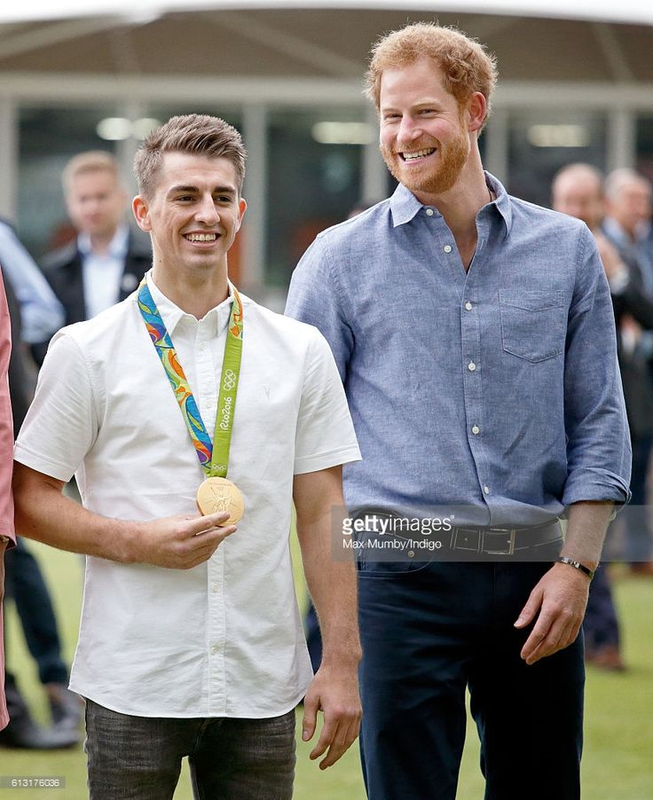 Olympic gold medal gymnast Max Whitlock and Prince Harry attend an event to mark the expansion of the Coach Core sports coaching apprenticeship programme at Lord's cricket ground on October 7, 2016 in London, England.
